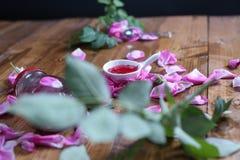 Rose Petal Jam. Roses Petal Jam, natural recipe, a wooden background stock image
