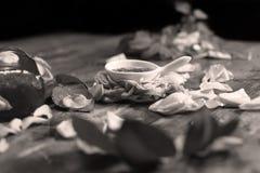 Rose Petal Jam. Roses Petal Jam, natural recipe, a wooden background stock photo