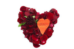 Rose petal red heart and red rose Royalty Free Stock Photos