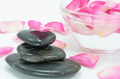 Rose petal spa. White background Stock Photos