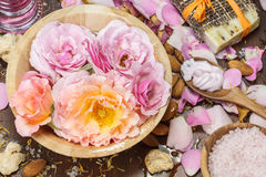 Rose petal spa Stock Photo