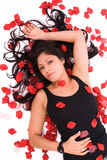 Rose petal woman. Royalty Free Stock Photo