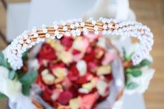 Rose petals basket Royalty Free Stock Photos