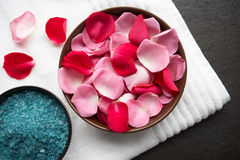 Rose petals and bath crystals Stock Photography