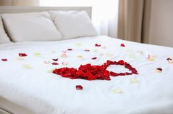 Rose petals on bed. In hotel room royalty free stock images