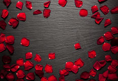 Rose petals border background on a black slate stone plate. For romantic designs Stock Photos