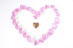 Rose petals chocolate heart. Stock Photography
