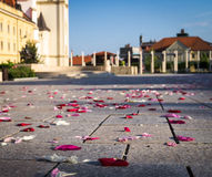 Rose petals on the cobbles Stock Photo