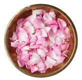 Rose petals in a copper plate. Pink rose petals in a copper plate Royalty Free Stock Image