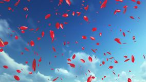 Rose Petals Flying mot blå himmel vektor illustrationer