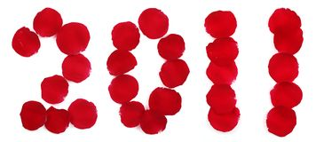 Rose petals forming number 2011 Royalty Free Stock Images