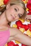 Rose Petals Girl Stock Images