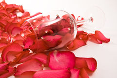 Rose petals and glass Royalty Free Stock Images