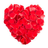 Rose petals heart. Red rose petals heart isolated on white, clipping path included stock photos