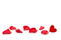 Rose petals and heart Stock Photography