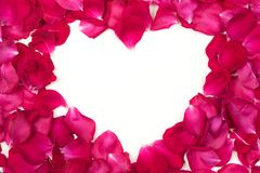 Red Rose Petals Heart royalty free stock photos