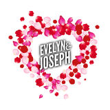 Rose petals heart Beautiful wedding invitation vector design template card Stock Images