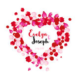 Rose petals heart Beautiful wedding invitation vector illustration Royalty Free Stock Photos