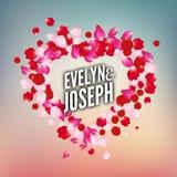 Rose petals heart Beautiful wedding invitation vector illustration Royalty Free Stock Images