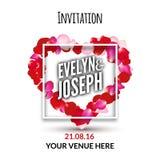 Rose petals heart Beautiful wedding invitation vector illustration. Love wedding concept frame Royalty Free Stock Images