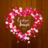 Rose petals heart Beautiful wedding invitation on wooden background vector illustration Royalty Free Stock Images