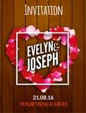 Rose petals heart Beautiful wedding invitation on wooden background vector illustration Stock Photos