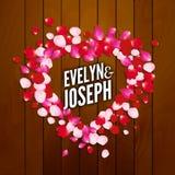 Rose petals heart Beautiful wedding invitation on wooden background vector illustration. Wedding heart background Stock Image