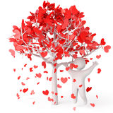 Rose petals in heart shape Royalty Free Stock Photo