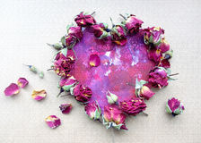 Rose petals in heart shape. Valentine greeting or wedding composition Stock Images