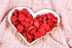 Rose petals in a heart-shaped dish Royalty Free Stock Images