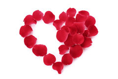 Rose petals in heart symbol Royalty Free Stock Images