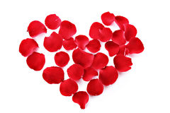 Rose petals in heart symbol isolated Stock Image