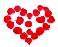 Rose petals in heart symbol isolated Stock Images