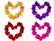 Rose petals hearts. Rose petals in the shape of heart on the white background Stock Images