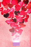 Rose petals and hearts flying out of a gift box Stock Photos