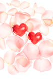 Rose petals and hearts valentine light background Stock Photos