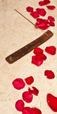 Rose Petals and Incense on Marble Tub Royalty Free Stock Photos