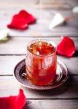 Rose petals jam, confiture in a glass jar Stock Image