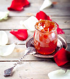 Rose petals jam, confiture in a glass jar Royalty Free Stock Photography