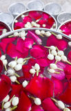 Rose petals and jasmine water. Royalty Free Stock Photography