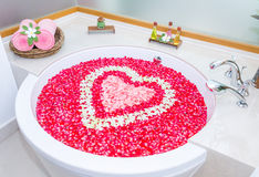 Rose petals and leelawadee with heart shape decoration in bathtu Royalty Free Stock Photo