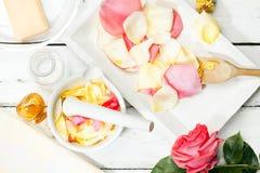 Rose petals in a mortar Royalty Free Stock Image