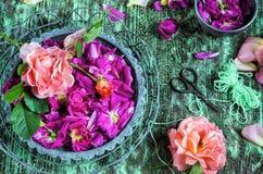 Rose petals in a mortar Royalty Free Stock Photos