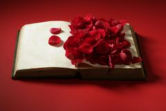 Rose petals over old aged book Royalty Free Stock Image