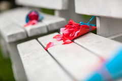 Rose petals in the paper cone. Stock Photos