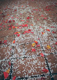 Rose petals and paper confetti Royalty Free Stock Image