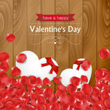 Rose petals and paper heart notes Stock Image