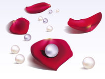 Rose petals and pearls Royalty Free Stock Photos