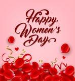 Rose petals on a pink background. Red rose petals on a pink background. Greeting card for women`s day. Vector illustration Vector Illustration