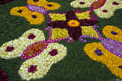 Rose petals rangoli decoration Royalty Free Stock Photo